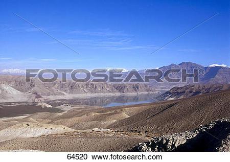 Stock Photography of Lake surrounded by mountain range, Hindukush.