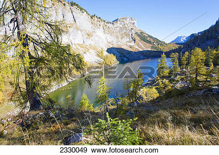 Stock Photograph of High angle view of lake surrounded by.