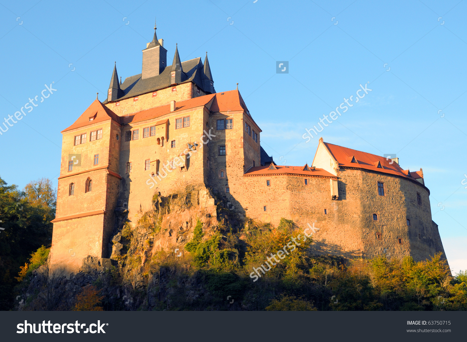 Kriebstein Castle In Late Afternoon; Saxony, Germany Stock Photo.