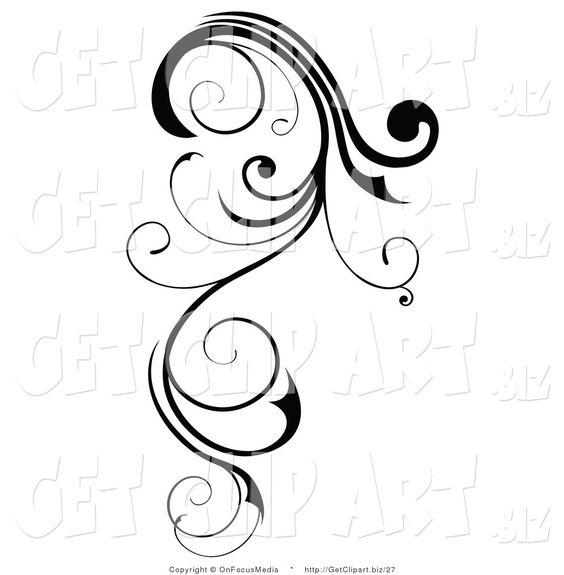 Clip Art of a Long, Black Swirling Design Element Scroll.