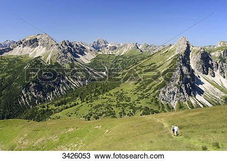 Stock Photo of View from Krinnenspitze to Lailachspitze, Hochvogel.