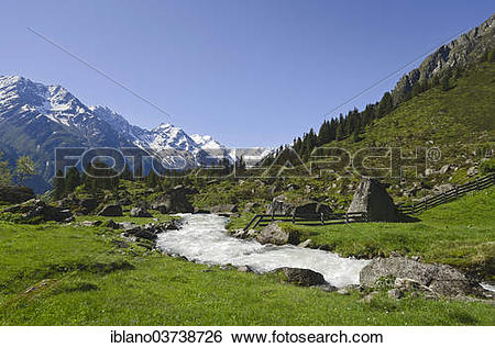 "Stock Images of ""Falbesoner Bach stream, Stubai Alps, Tyrol."