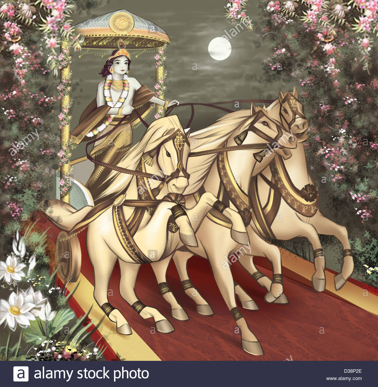 Lord Krishna Riding A Chariot Stock Photo, Royalty Free Image.