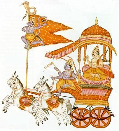 Warrior Arjuna with Krishna.