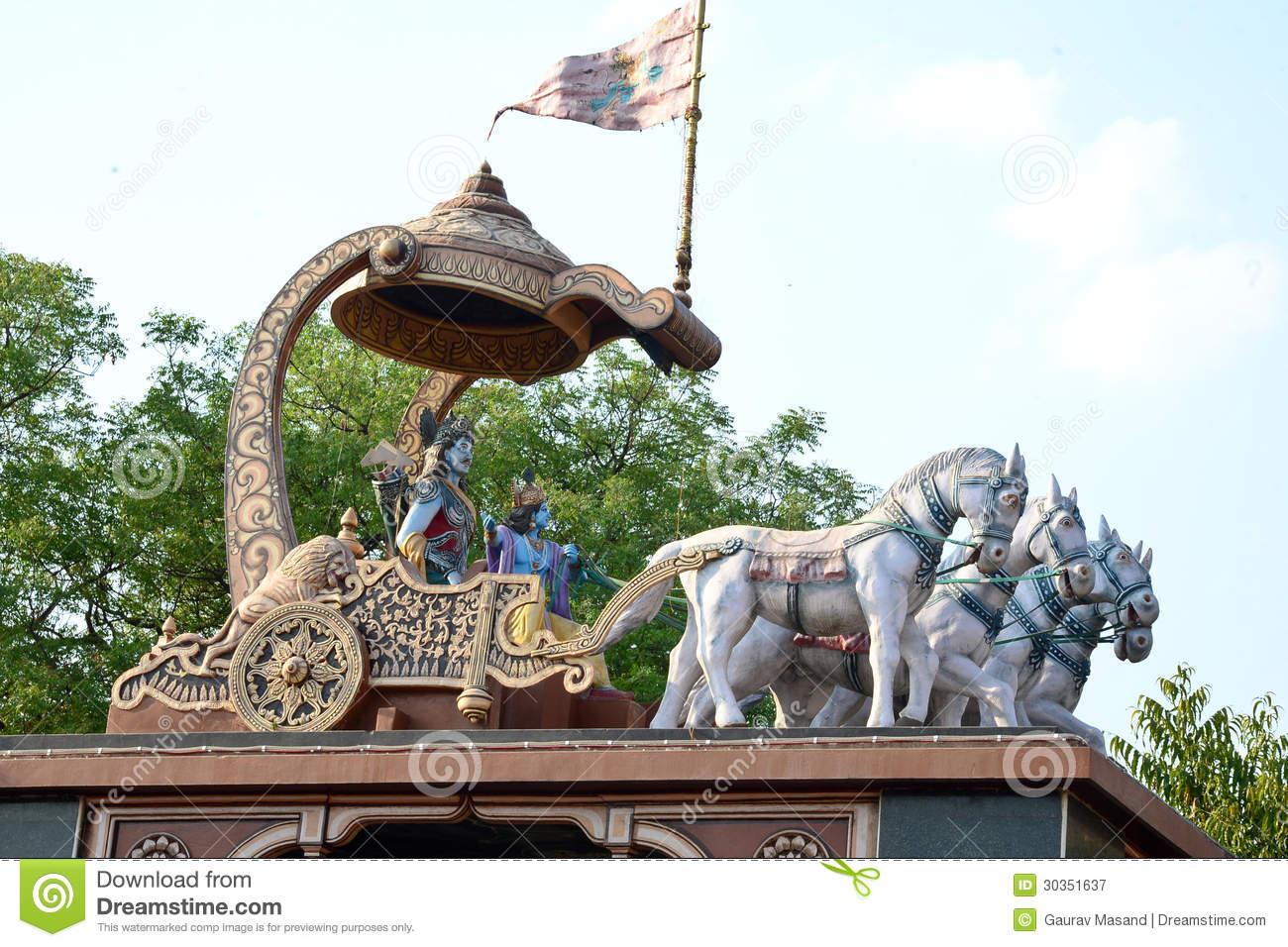Arjuna And Krishna Royalty Free Stock Photography.