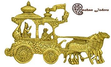 Buy Elegant Brass Wall Hanging Krishna Arjun chariot or Krishna.