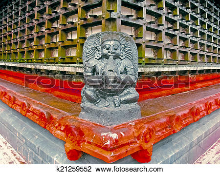 Stock Photo of Perspective of Shri Krishna Temple wooden framed.