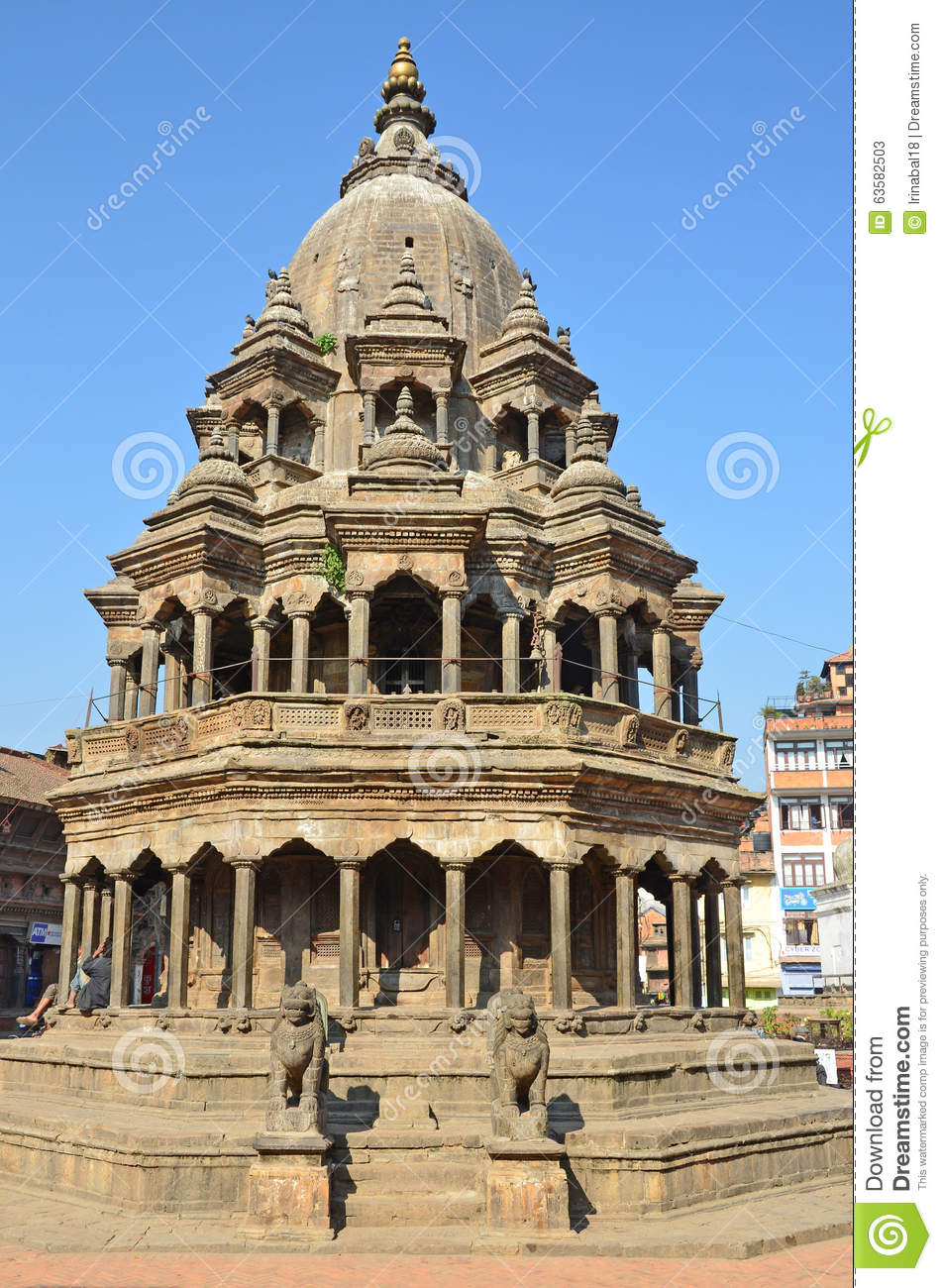 Patan, Nepal, Ancient Hindu Stone Temple Of Krishna Mandir On.