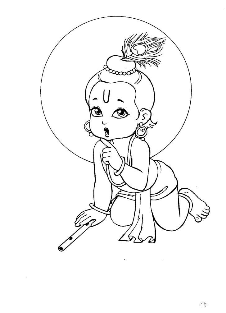 Krishna Janmashtami Drawing Bala Krishna Radha Krishna PNG.