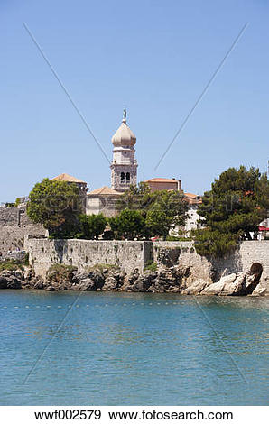 Stock Photograph of Croatia, View of Krk with Frankopan castle in.