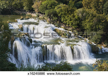 Stock Images of Waterfall in Krka National Park, Dalmatia, Croatia.