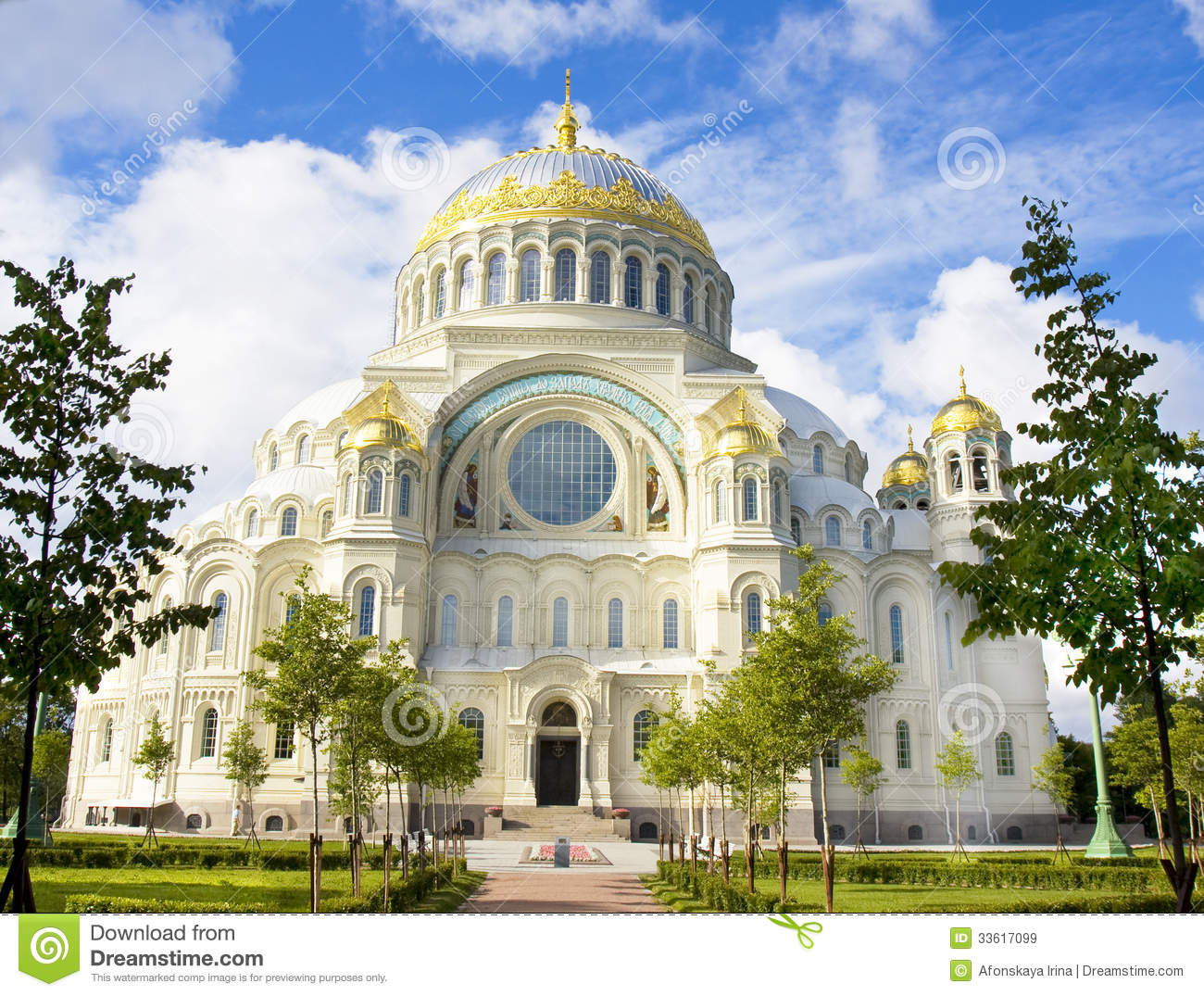 St. Nicholas Cathedral In Kronshtadt, Russia Royalty Free Stock.