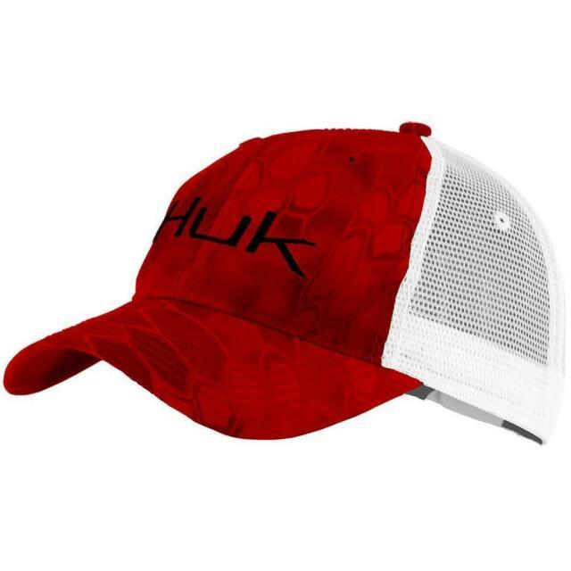 Huk Fishing Kryptek Logo Trucker Hat Cap H3000091 Red With Tags.