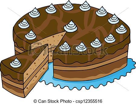 Vector Clip Art of Sliced chocolate cake.