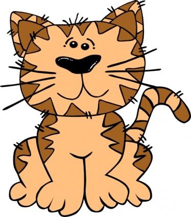 Drawings Mammals Sitting Kitten Cats Tiger Head Free Happy.