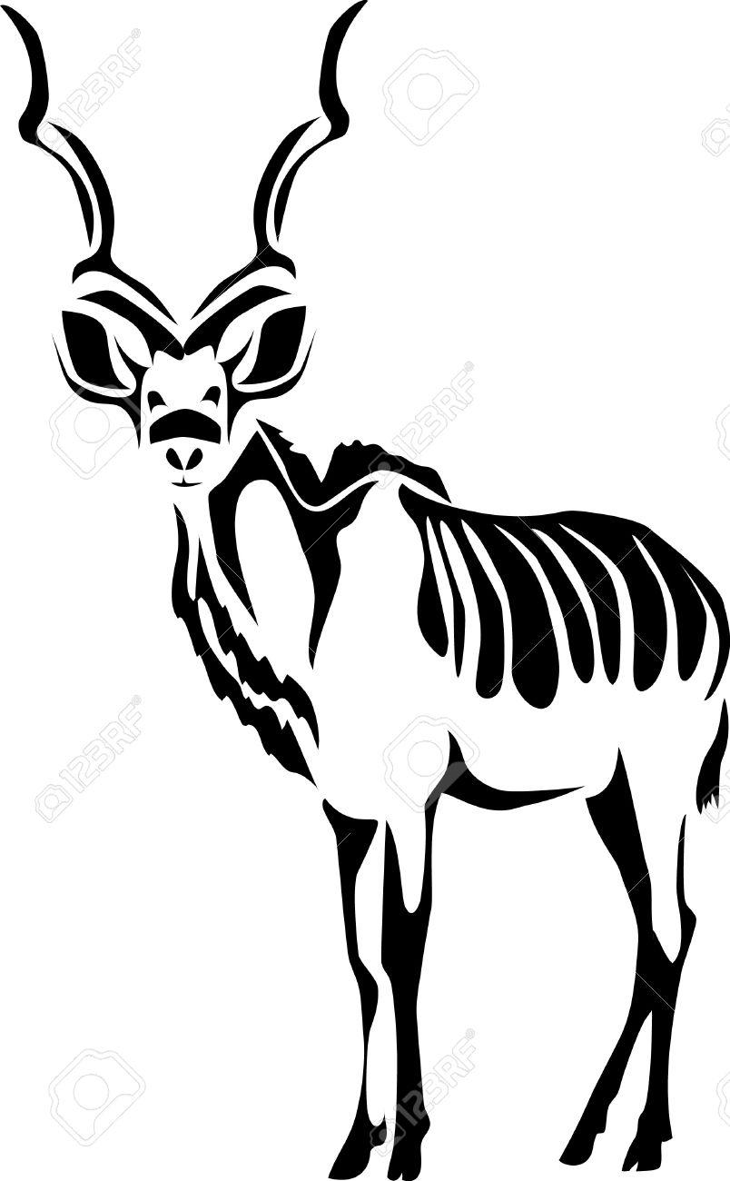 Kudu bull clipart.