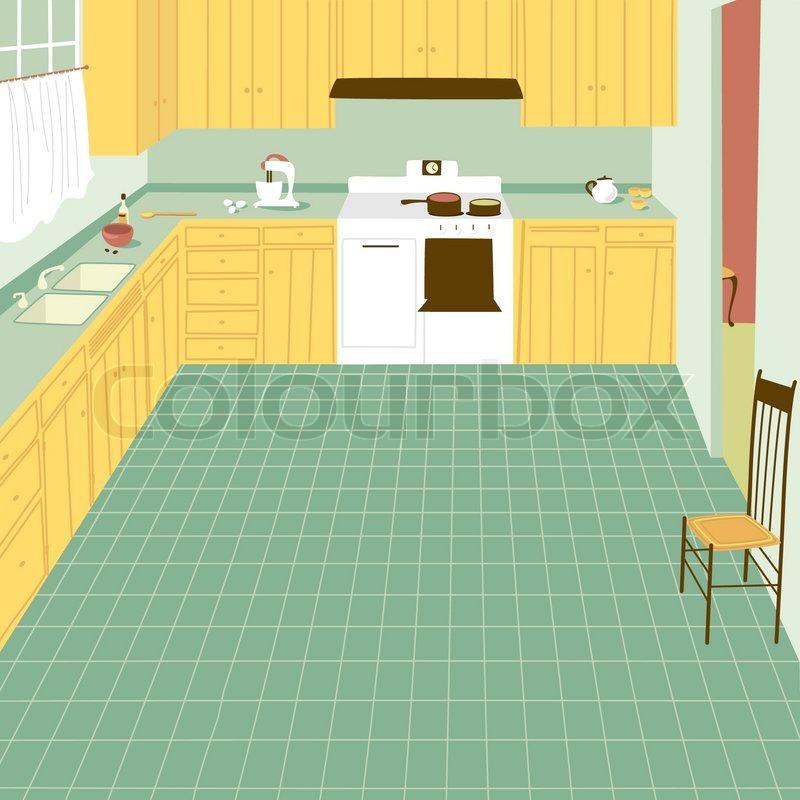 50er, clipart, küchen.