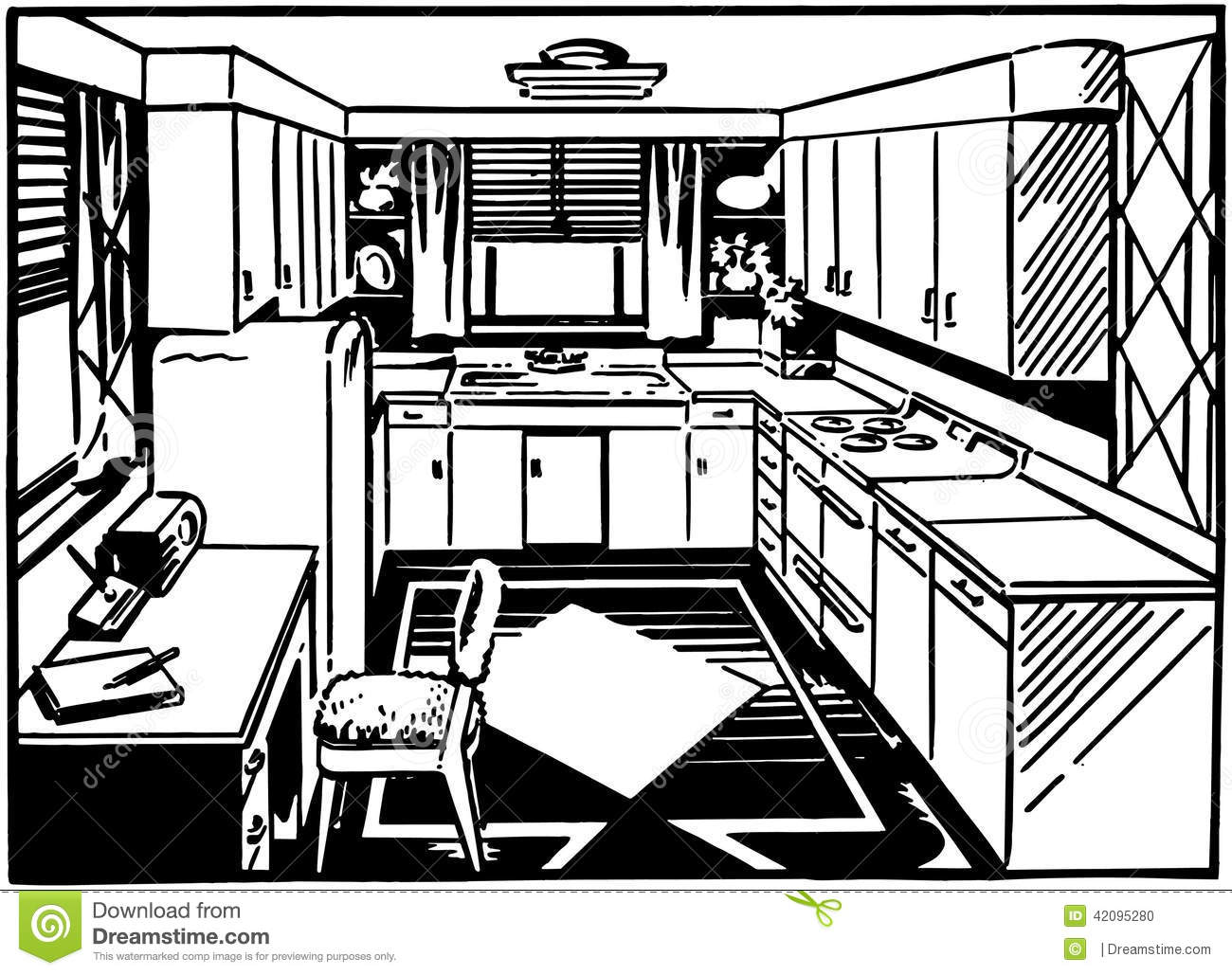 Retro Kitchen 2 Stock Vector.