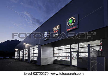"Stock Photograph of ""Car repair shop at dusk, St.Gertraudi, Reith."