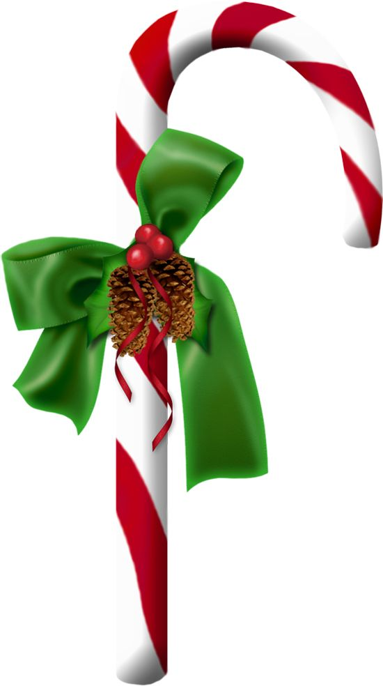 Candy cane clip art with pine cones.