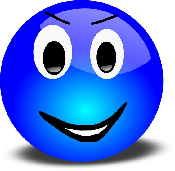 Free 3d Grinning Blue Smiley Face Clipart Illustration by Picsburg.