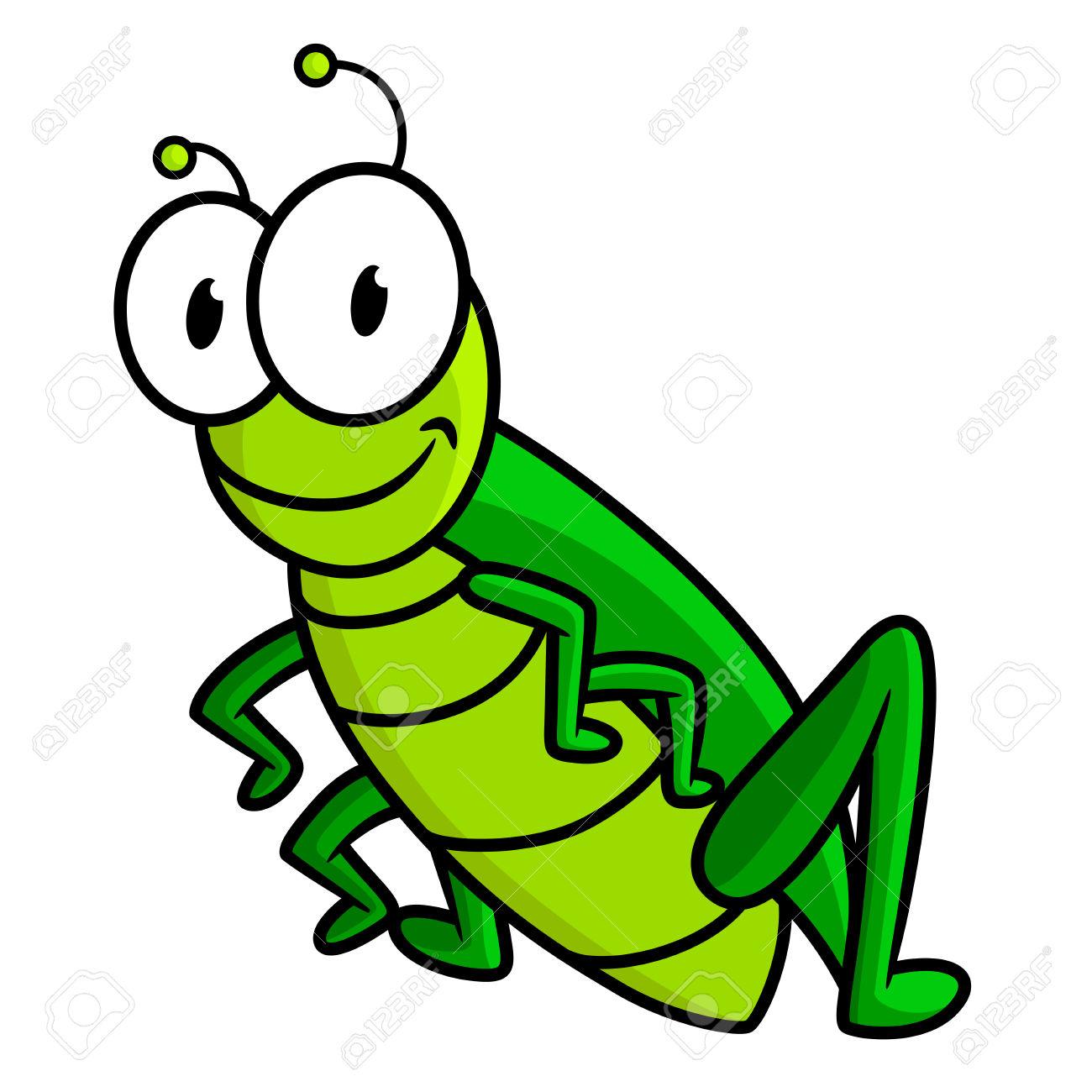 Lustige Helle Grüne Heuschrecke Cartoon.