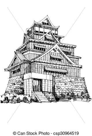 Kumamoto castle Clip Art Vector Graphics. 29 Kumamoto castle EPS.