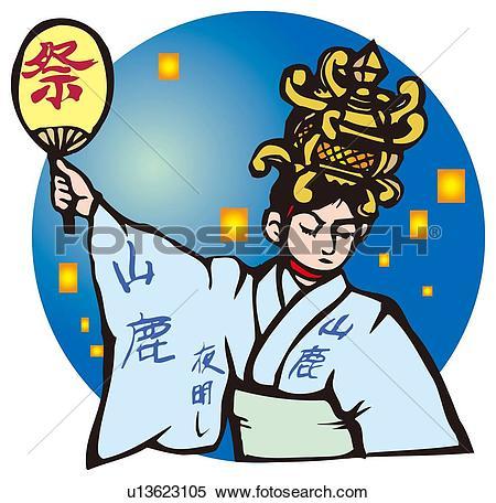 Stock Illustration of Yamaga Lantern Festival, Woodcut, Kumamoto.