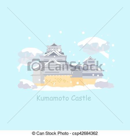 Clip Art Vector of cute cartoon japan kumamoto castle in winter.