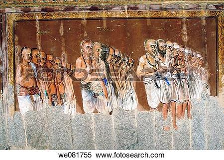 Stock Image of Murals on the ceiling of Konerirajapuram temple.