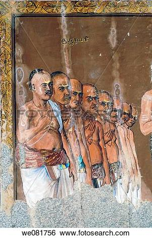 Stock Images of Murals on the ceiling of Konerirajapuram temple.