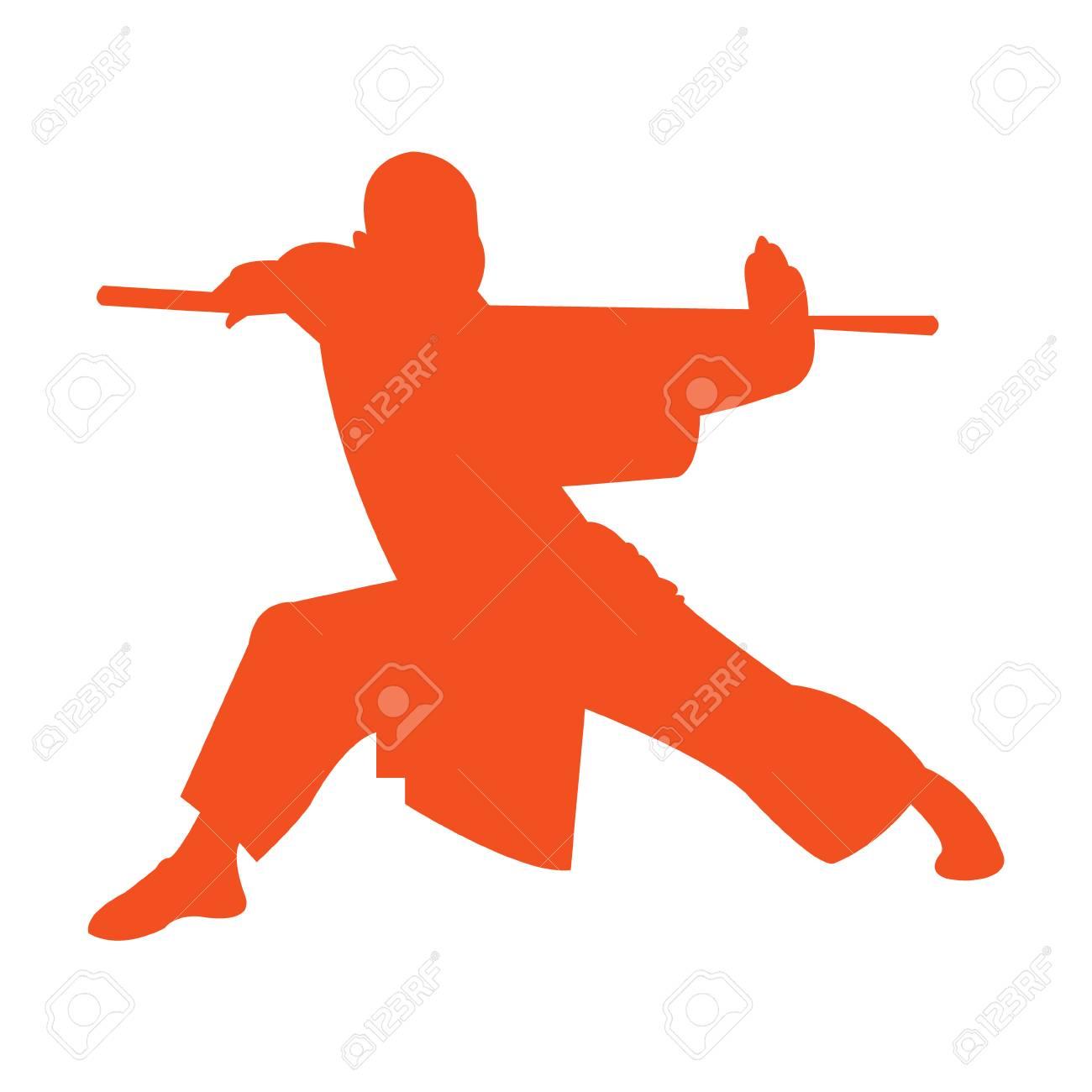 Shaolin monk kung fu silhouette.