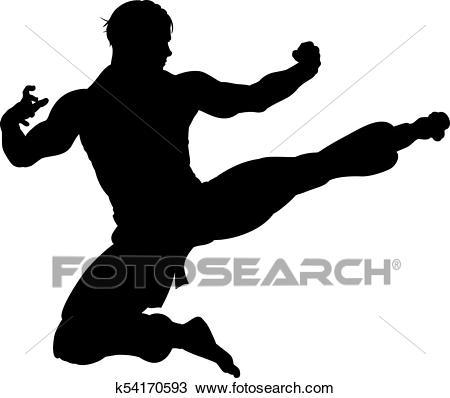Karate Kung Fu Flying Kick Man Silhouette Clipart.