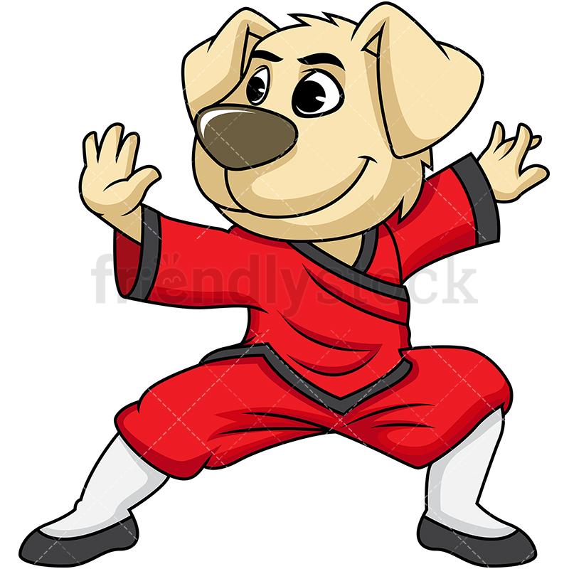 Dog Mascot Character Doing Kung Fu.