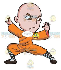 A Shaolin Man Doing A Kung Fu Stance.
