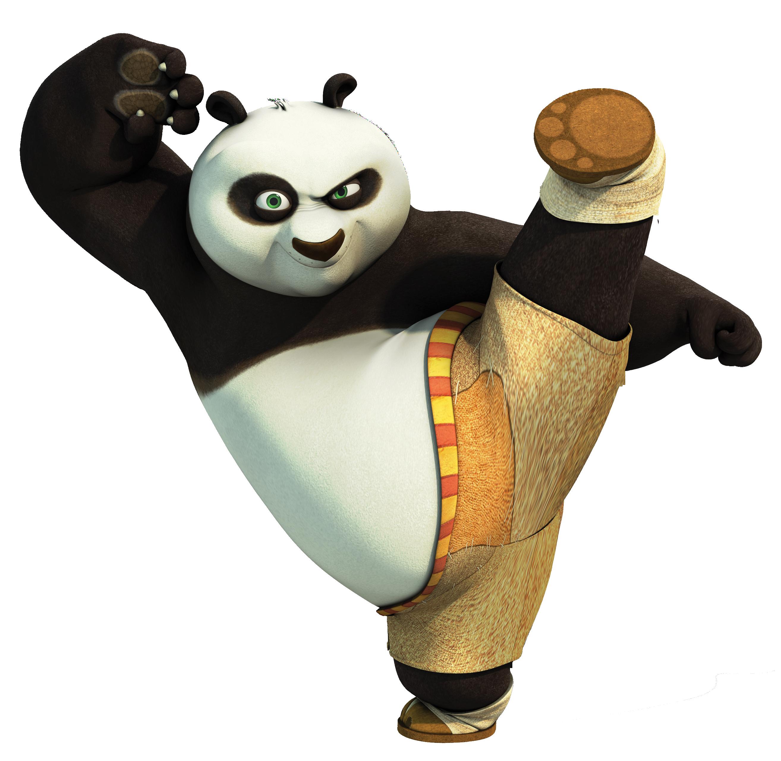 Transparent Kung Fu Panda PNG Clip Art Image.