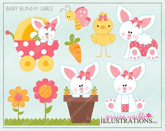 Baby Bunny Girls Cute Digital Clipart For Invitations Card Design.