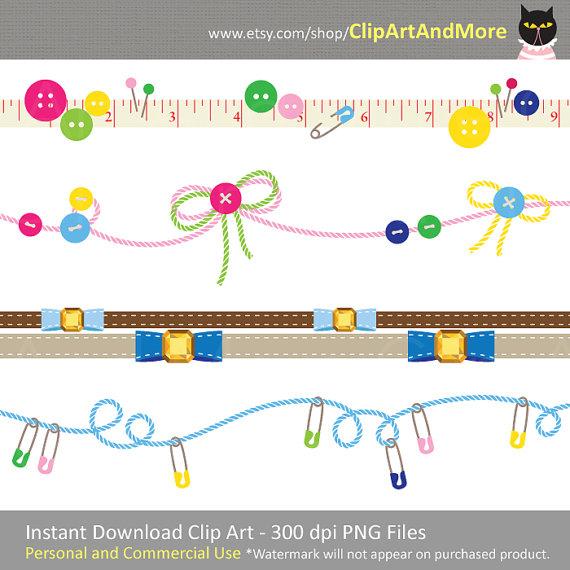 Nähen Clipart Clip Kunsthandwerk Grenze Rahmen von ClipArtAndMore.