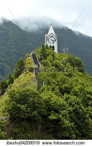 Stock Photograph of Fatima Chapel on a green hill, Capela de Nossa.