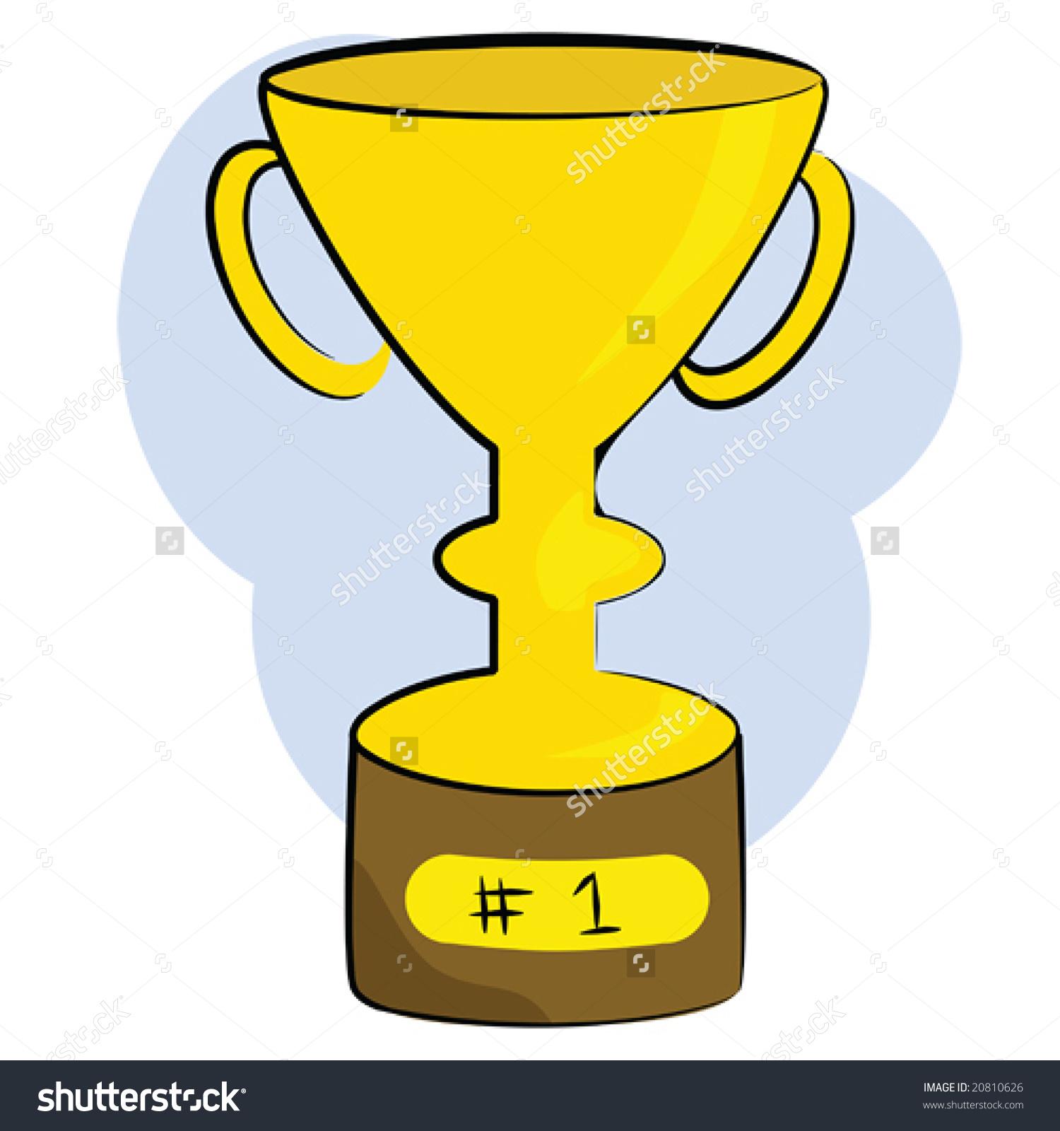 Cartoon Vector Illustration Golden Trophy Mounted Stock Vector.