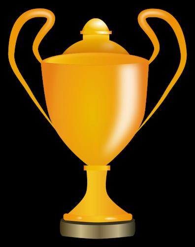 Vector graphics of golden trophy cup.