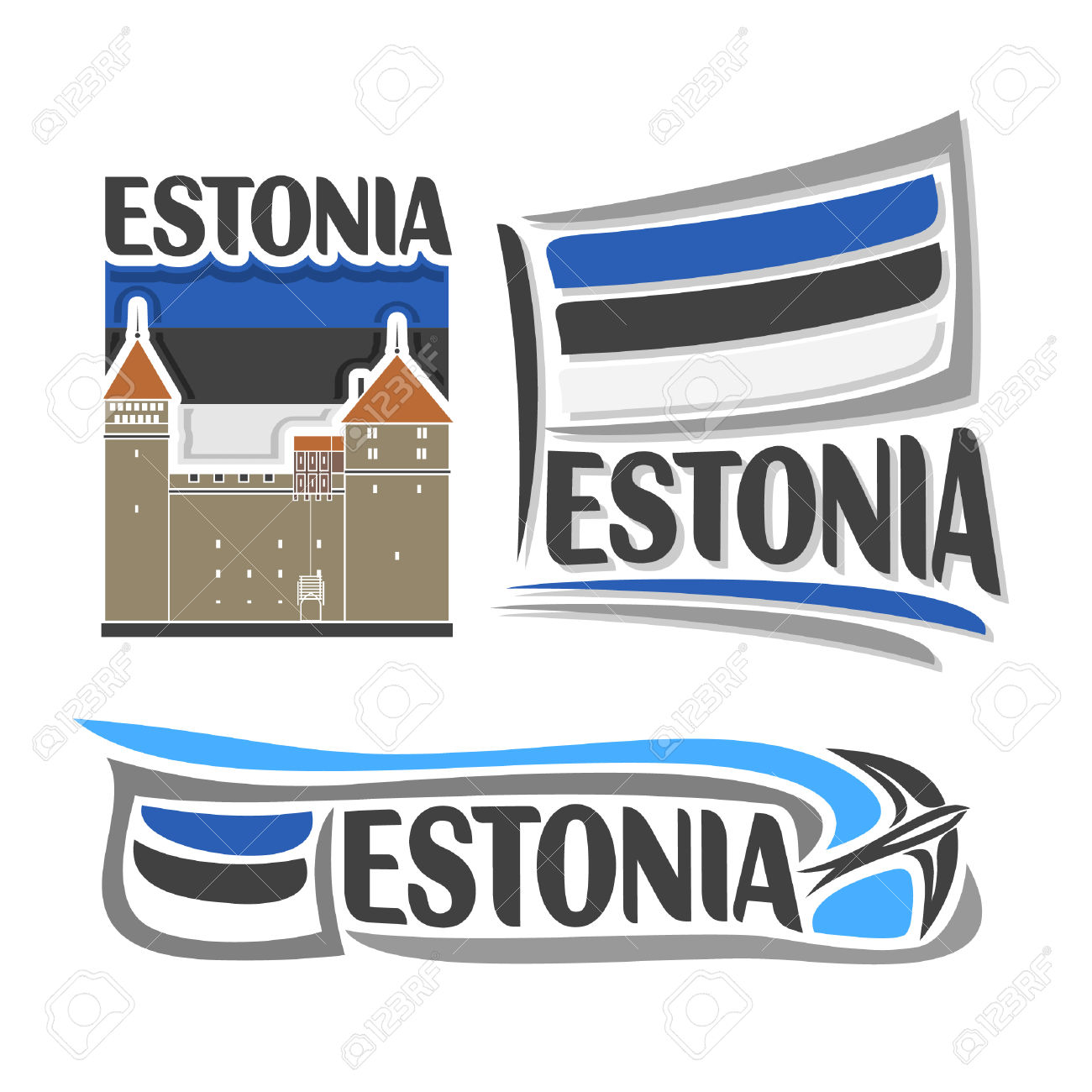 Icon For Estonia, Consisting Of 3 Isolated Illustrations.