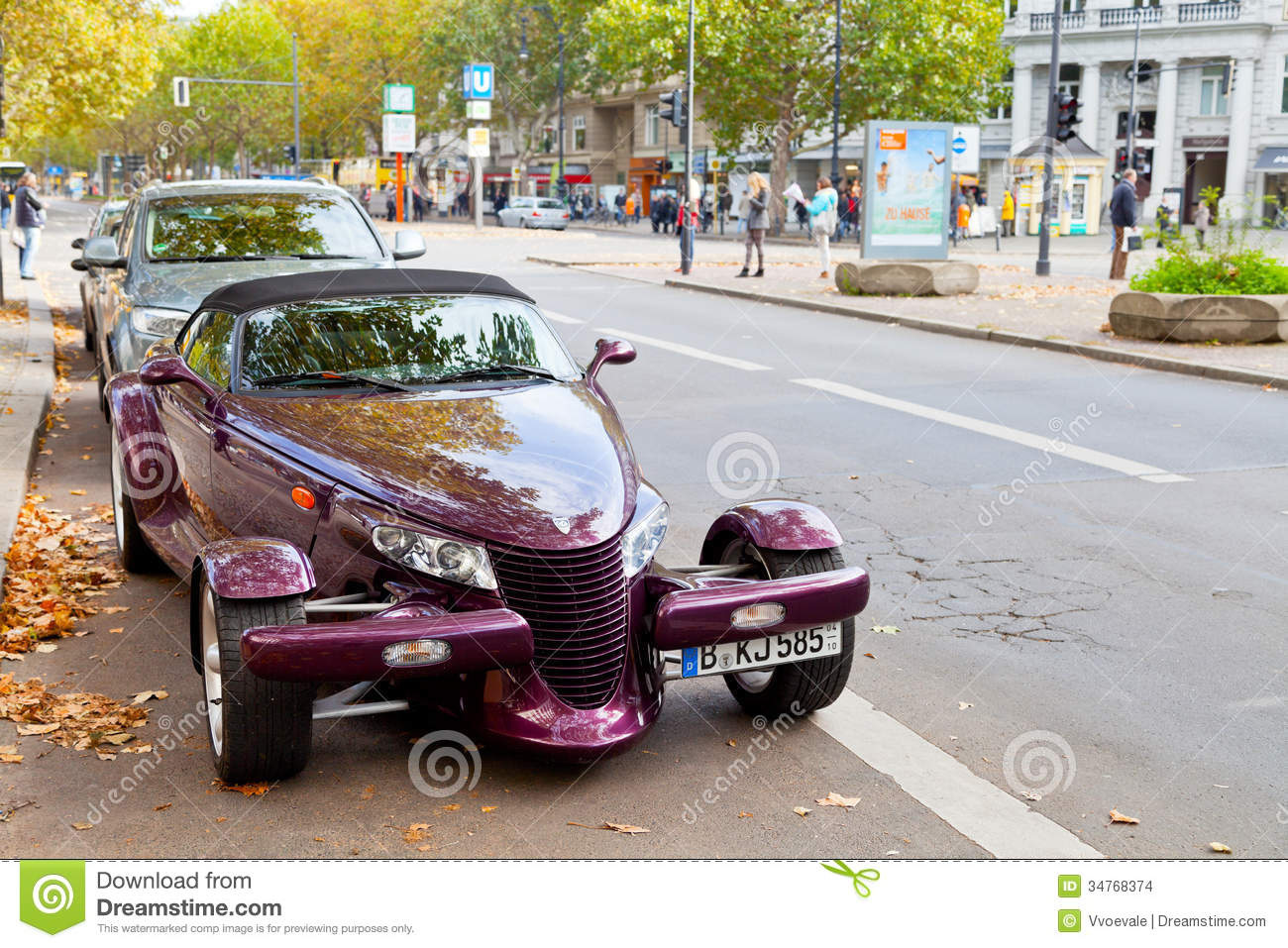 Kurfurstendamm With Expensive Car In Berlin Editorial Stock Image.
