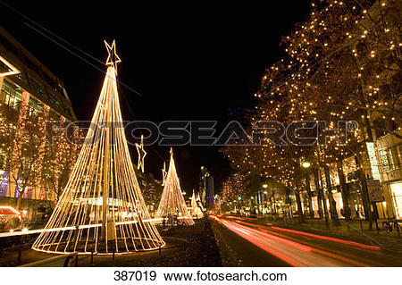Stock Photograph of Christmas decorations along Kurfurstendamm.