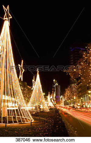 Stock Images of Christmas decorations along Kurfurstendamm, Berlin.