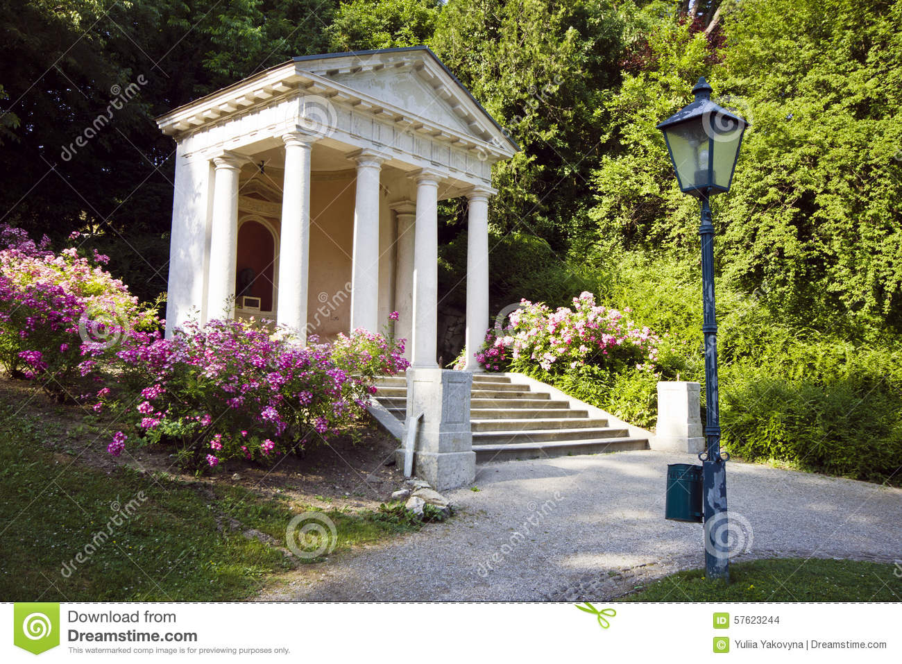 Monument To Mozart In Kurpark, Baden, Austria Stock Photo.