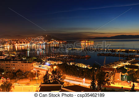 Pictures of Kusadasi in the evening, Turkey.