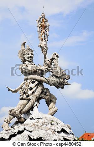 Stock Photo of Giant Statue at Kuta Roundabout, Bali, Indonesia.