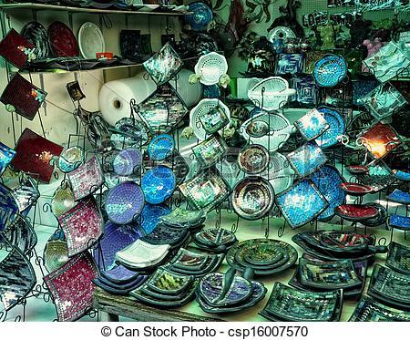 Picture of Colorful plates souvenir in Kuta.