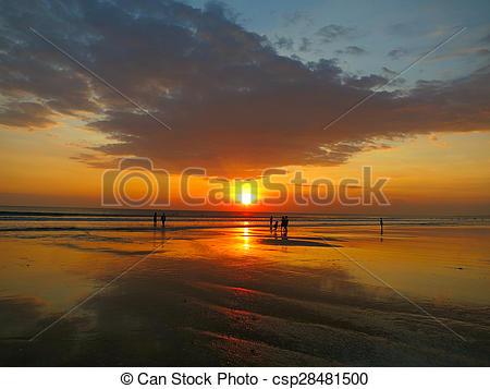 Stock Photography of Kuta beach beautiful sunset, Bali, Indonesia.